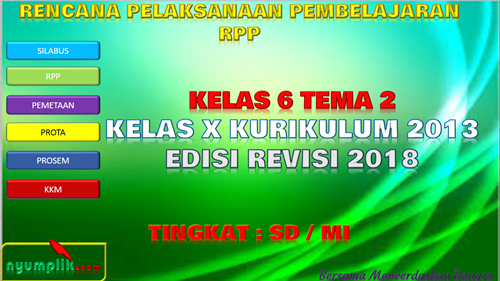 Download RPP K13 Kelas 6 Semester 1 Revisi 2018 Tema 2