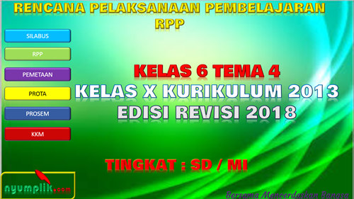 Download RPP K13 Kelas 6 Semester 1 Revisi 2018 Tema 4