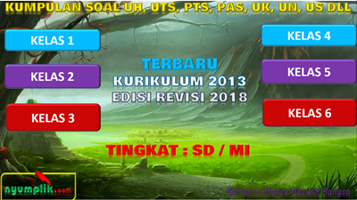 Download Bank Soal SD Kelas 1,2,3,4,5,6 Kurikulum 2013 Revisi 2018