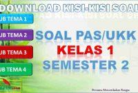 Kisi-kisi PAS/UKK Kelas 1 Semester 2