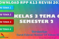 RPP 1 Lembar SD/MI Kelas 3 Semester 2 Tema 6