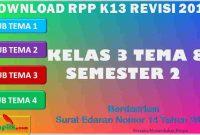 RPP 1 Lembar SD/MI Kelas 3 Semester 2 Tema 8