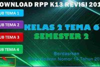 RPP 1 Lembar SD/MI Kelas 2 Semester 2 Tema 6