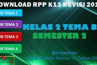 RPP 1 Lembar SD/MI Kelas 2 Semester 2 Tema 8