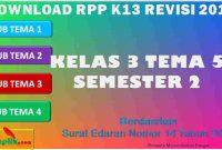 RPP 1 Lembar SD/MI Kelas 3 Semester 2 Tema 5