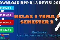 RPP 1 Lembar SD/MI Kelas 1 Semester 2 Tema 5
