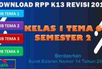 RPP 1 Lembar SD/MI Kelas 1 Semester 2 Tema 6