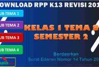 RPP 1 Lembar SD/MI Kelas 1 Semester 2 Tema 8